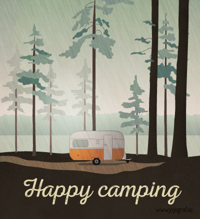 happy camping illustration