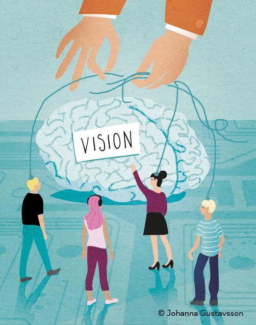 Hjärnan. Del av redaktionell illustration till Civilekonomen. © Jojograf