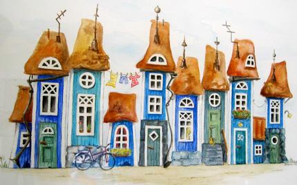 hus på rad i akvarell