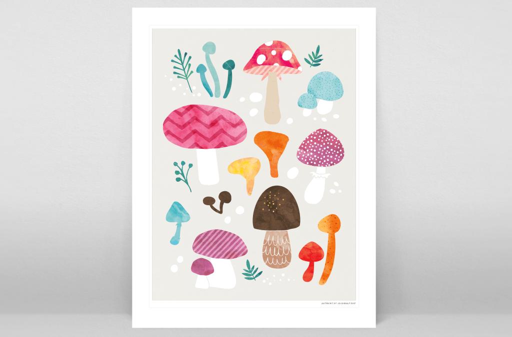 Ny poster med färgglada svampar