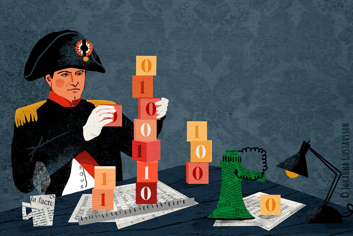 Napoleon. Redaktionell illustration till tidningen Civilekonomen © Jojograf 2018